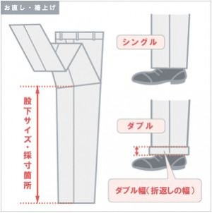 ズボンの裾の処理