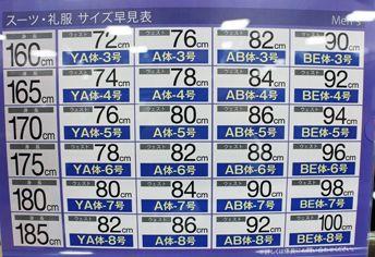 スーツのサイズ表