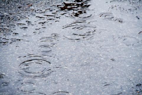 雨でぬれたアスファルト